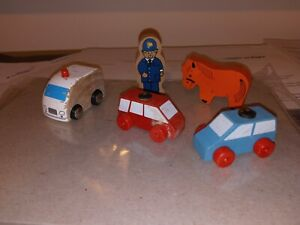 Wooden Railway CARS figure Accessories - Lot of 5 use with Thomas Brio more