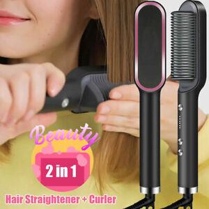 Black Hair Straightener Brush, Hair Curler, Hair comb, fast heat, easy to use