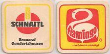"""Schnaitl Bier, Gundertshausen - alter Bierdeckel """"Flamingo...erfrischt richtig"""""""