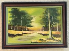 "UNIQUE ABSTRACT RIVER W/ TREES OIL on CANVAS 28""X20"" FRAMED SIGNED by CARLSON"