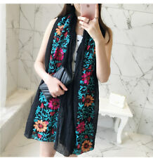 Classic Black Embroidery Flower Cotton Long Pashmina Shawl Wrap Soft Scarf