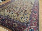 Antique Turkish 10x17  paisley Oriental Rug Beige Red Purple wool hand-knotted