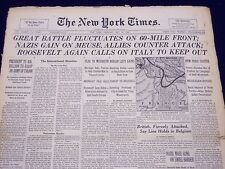 1940 MAY 16 NEW YORK TIMES - GREAT BATTLE FLUCTUATES ON 60-MILE FRONT - NT 184