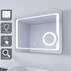 Badspiegel LED 80x60 mit Beleuchtung Touch Steckdose Kosmetikspiegel Anti-fog