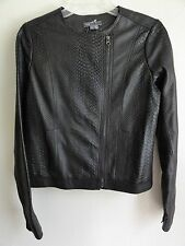 VINCE SNAKESKIN EMBOSSED LEATHER JACKET, Graphite, Size M, MSRP $995