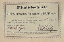 Mitglieds-Karte des Obstbauvereines für den Kreis Wolfhagen ca. 1909 Ausweis rar