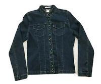 Christopher & Banks Stretch Denim Snap Front Trucker Jacket Embellished Size S