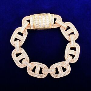 Baguette Iced Bracelet Gold Hip Hop Silver Cuban Men Miami Rose 24K Plated Mens