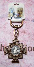St Saint Benedict Cross Medal - Antique Copper - Key Chain