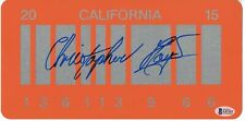 CHRISTOPHER LLOYD SIGNED BACK TO THE FUTURE 2 DELOREAN LICENSE PLATE BAS COA 1