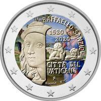 2 Euro Gedenkmünze Vatikan 2020 coloriert Farbe Farbmünze Raffaelo 1