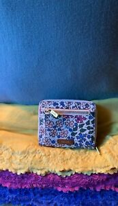Fossil White Multi-Color Floral  Coated Canvas Organizer Zip Snap Purse Wallet