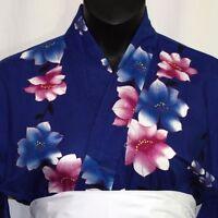 "Vintage Japanese Woman's Cotton Yukata Kimono Robe Pool Cover Up ""Royal Blue"""