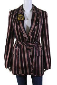 Zimmermann Womens Stripe Button Long Blazer Burgundy Black Size 2