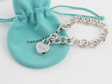 Tiffany & Co Silver Love Heart Padlock Charm Bracelet Bangle Cuff!