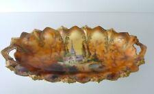 Antique German RS PRUSSIA Castle Scene Porcelain Celery Dish