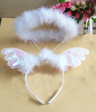 White Angel Feather Halo Sparkling Headband Hair Band Fancy Dress Party Costume