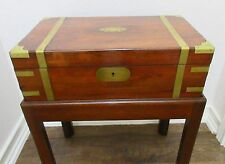 ANTIQUE,VTG ROSEWOOD DOCUMENT,JEWELRY BOX CHEST,RAISED ON STAND,BRASS  INLAY
