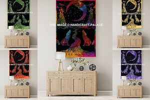 Large Hippie Wall Hanging Wolf Howling at Moon Tapestry Throw Urban Gypsy Decor
