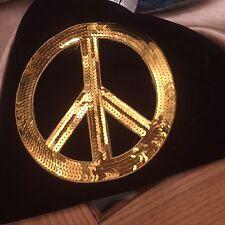 Big Sequin Peace Sign Appliqué-7 Inches-Gold-Iron On Or Sew-Decor-Denim-MixMedia
