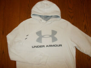 UNDER ARMOUR COLD GEAR WHITE HOODED SWEATSHIRT MENS MEDIUM EXCELLENT CONDITION