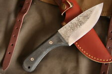 Hand Forged Stubby Full Tang Bushcraft Knife G10 handle w/leather sheath