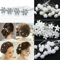 Lot 20/40Pcs Wedding Bridal Pearl Flower Rose Hair Pins Crystal Rhinestone Clips