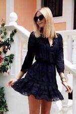 """ISABEL MARANT """"Greta"""" Cotton Voile Dress Sz 38 Lace Crochet Black"""