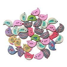 2 Holes  Mixed Bird Wooden Buttons Sewing Scrapbook DIY 50pcs