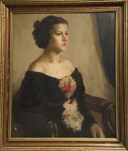 Vintage Female Portrait Oil Painting Framed