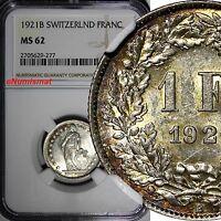 Switzerland Silver 1921-B 1 Franc NGC MS62 Helvetia Nice Toning KM# 24