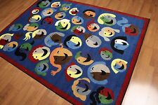 5' x 7' Contemporary Fun Smiles Emojis Area rug Full Pile AOR7432 - 5x7 Blue