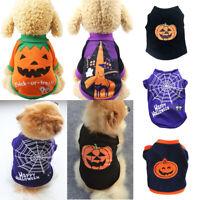 Puppy Sweater Halloween Pumpkin Pet Cat Dog Cotton Vest Clothes Costume Suit LOT