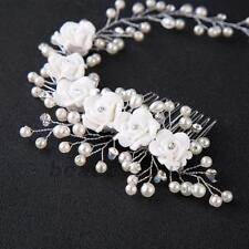 Flower Garland Pearl Headband Wedding Bride Hair Accessories HeadPiece Party