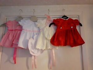 """16""""/14"""" Dolls Dresses Broderie Anglais & Velvet  & Lace to fit Tiny tears, etc"""