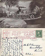 HORSE & CART & MOTOR CAR TOOT N BE DARNED POSTCARD POSTED MAINE 1911