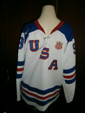 Nike USA Zach Parise Hockey Jersey Size Medium #9 Olympic Team Red White Blue