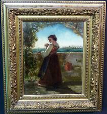 AA 1520 belle peinture ancienne huile sur panneau 43cm signé demoiselle Venise