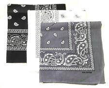 3 x Paisley Pattern Bandana Head Neck Scarf Black / White / Grey 100% COTTON