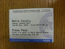 28/09/2010 BIGLIETTO: Peterborough United V Notts County [PRESS PASS]. bobfrankand