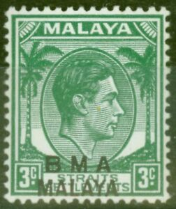 Straits Settlements BMA 1947 3c Blue-Green SG4b Fine Very Lightly Mtd Mint