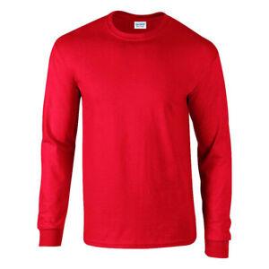 Gildan Ultra Cotton Mens Long Sleeve T-shirt Red Plain Tee