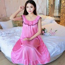Women's Silk Satin Long Sleepwear Pajamas Bowknot Sexy Nightgown Home Nightwear