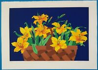 """Tjelda Michas Signed & Numbered """"Day Lillies"""" Floral Art Serigraph"""