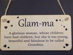 """Glam-Ma Fabulous Glamorous Grandma"" Love Gift Wooden Plaque Nanny Present Sign"