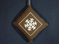 """New 6"""" x 6"""" Brown Fabric Pillow Ornament With Snowflake and Embroidery Design"""