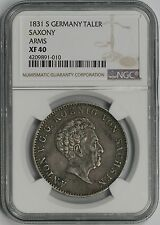 1831 S Germany Silver Taler NGC XF 40 (Saxony Arms) German States