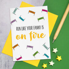 Good luck marathon card, on fire marathon card, adult runner card for her