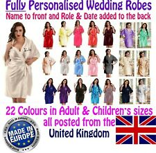 Fully Personalised Wedding Robe / Gown Adult & Children's Sizes Bridal 22 colour