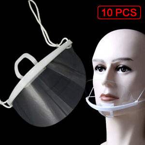10PCS Face Cover Protective Mouth Covering Reusable Washable Transparent Plastic